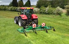 Rotary mower mounted through 3 point linkage to the tractor