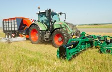 Flail mower with collector is mowing an airfield