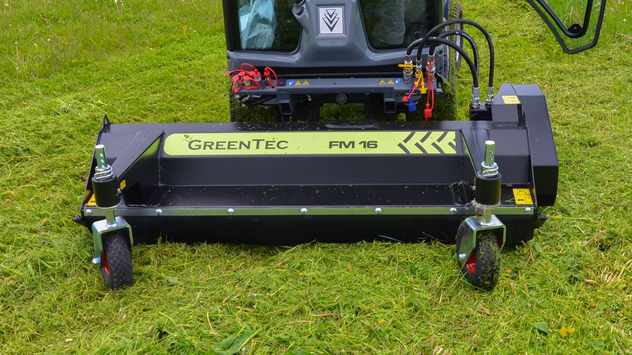 Front mounted flail mower for compact tractor