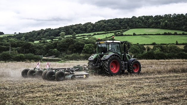 Stubble mulching machine working in a field