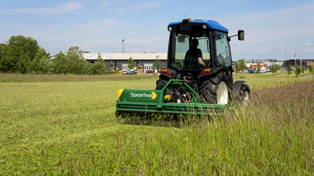 Rear mounted flail mower for small tractors