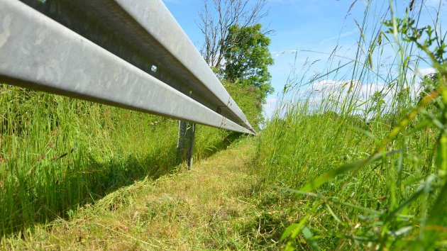 Mowing result of a guardrail by the Multi Carrier FOX and RI 80
