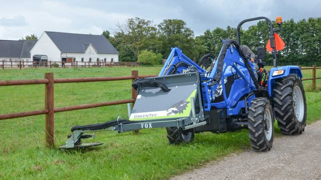 Fence row trimmer mounted on Solis S50 compact tractor