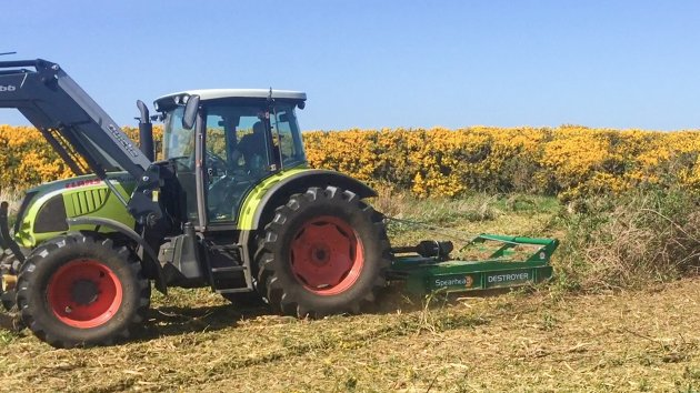 Rotary Brush Cutter mounted on tractor