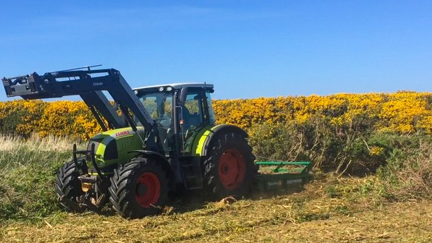 Rotary Brush Cutter pulverizes forestry, shrubs and bushes close to Campbeltown Airport