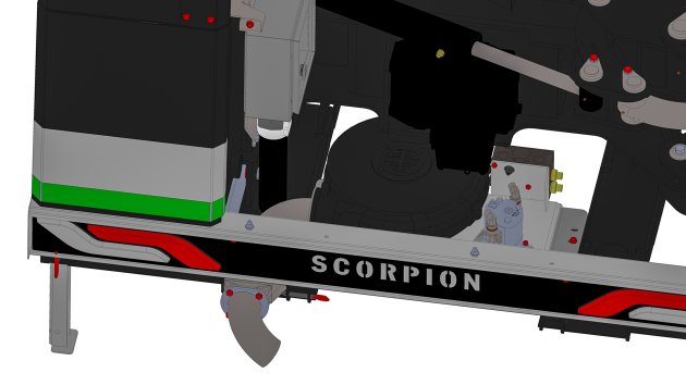 The debris blower can be integrated into our Scorpion boom mowers