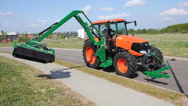 Verge mower is ready to cut the grass close to the pavement