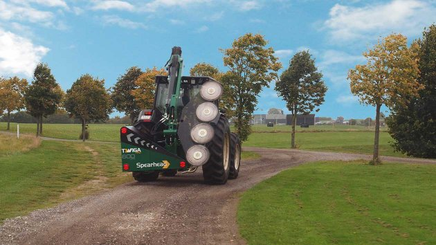 reach mower with quadsaw in transport position