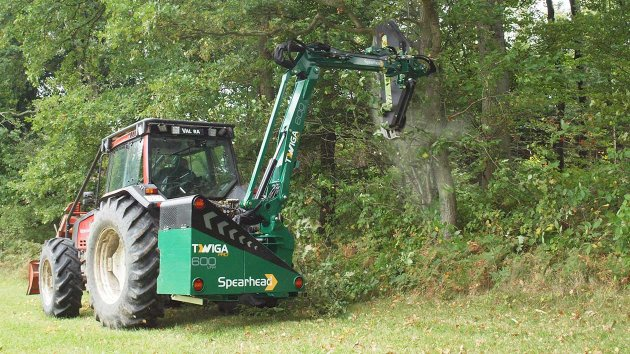 Arm mower used its reach to cut branches high up in the sky
