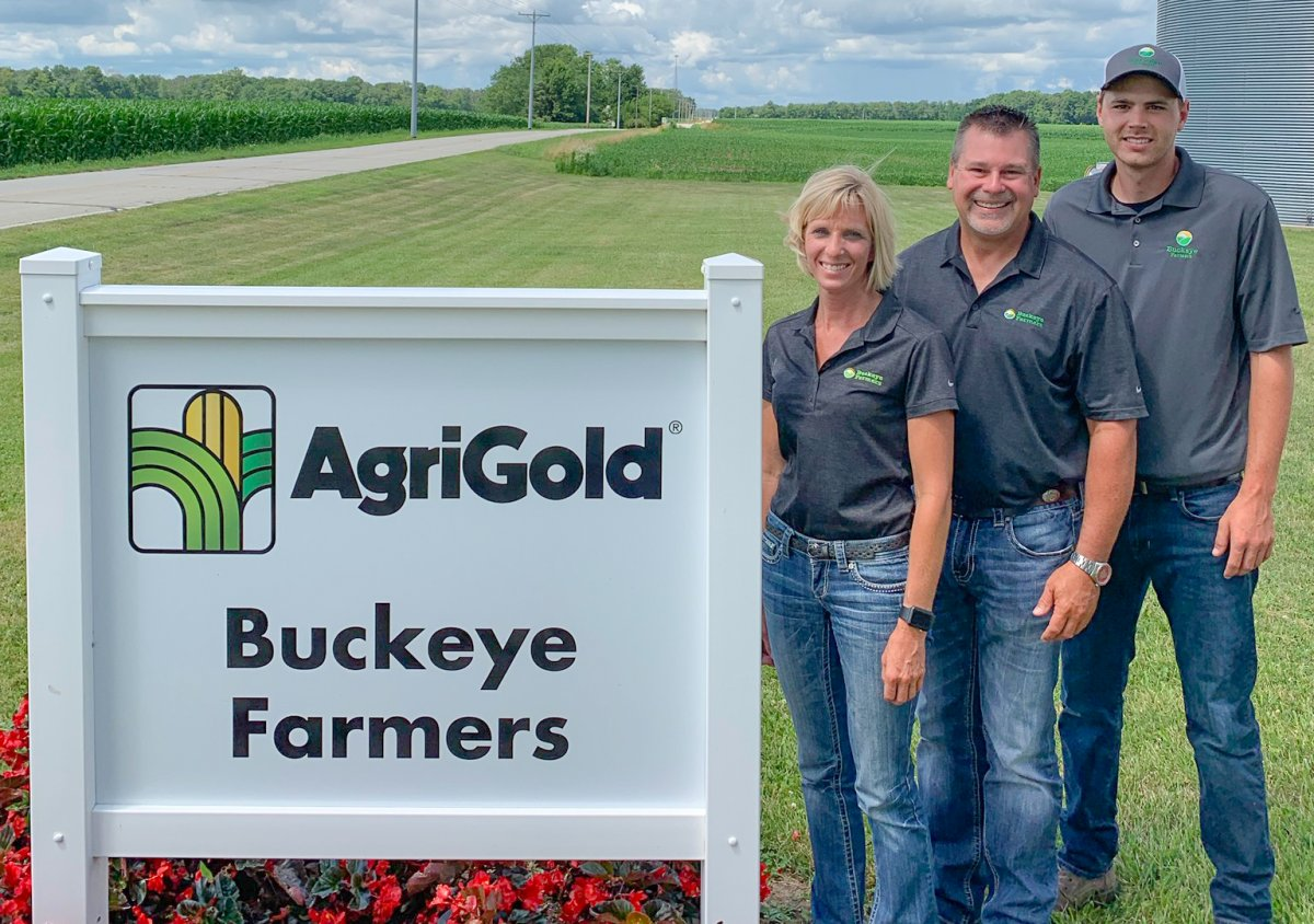 Sarah Denlinger, Brent Eyler and Tanner Rhodus at Buckeye Farmers