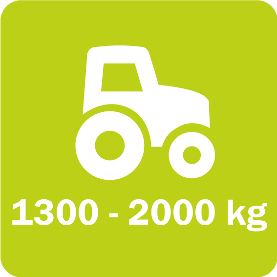 Twiga Compact 320 and 420 require a minimum weight of 1300 and 2000 kg for the tractor, respectively