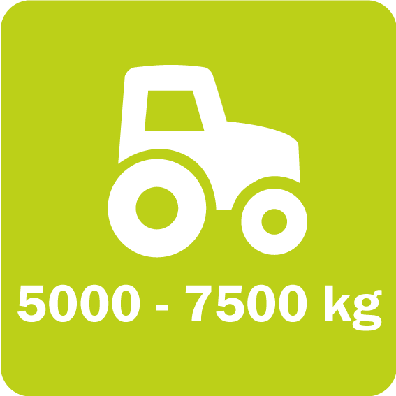 The Twiga Flex series requires a minimum weight between 5000 and 7500 kg for the tractor