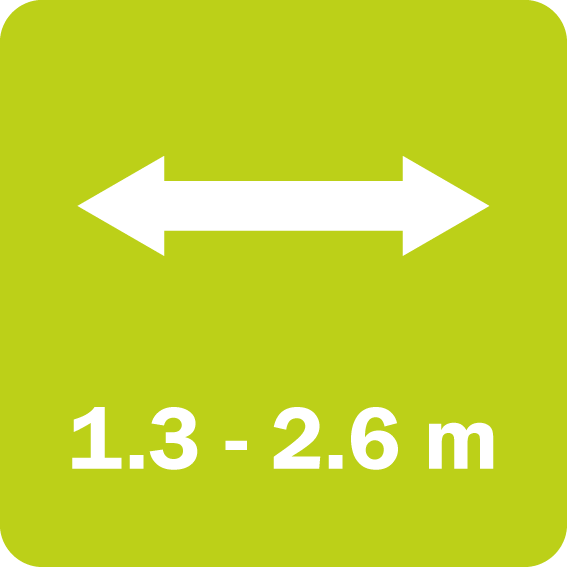 The FF/FL series has a working width from 1.3 to 2.6 m