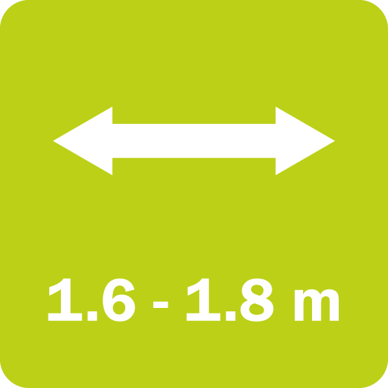 FM 16 and 18 Park have a working width of 1.6 and 1.8 m, respectively