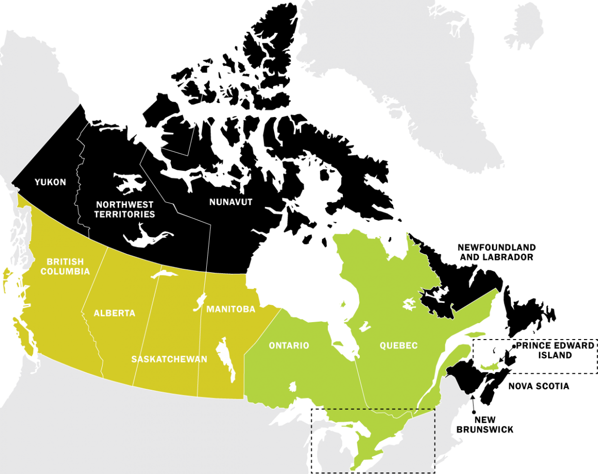 Dealer map with new regions in Canada